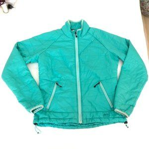 REI Women's Puffer Down Jacket Green/Blue Size XS